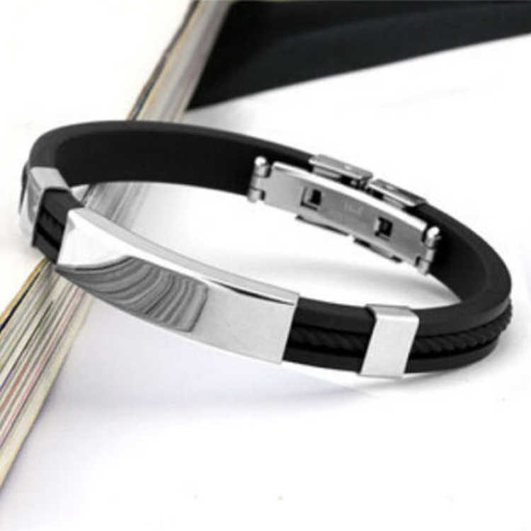 2019 Hot Sale Stainless Steel Black Men Bangles Magnetic Clasps Bracelet For Women Korean version Fashion Casual Jewelry Gifts