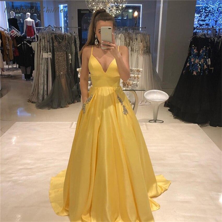 Simple Long Prom Dress with Pockets Elegant Long Spaghetti Straps A Line Yellow Satin Women Formal Party Dress vestidos de gala