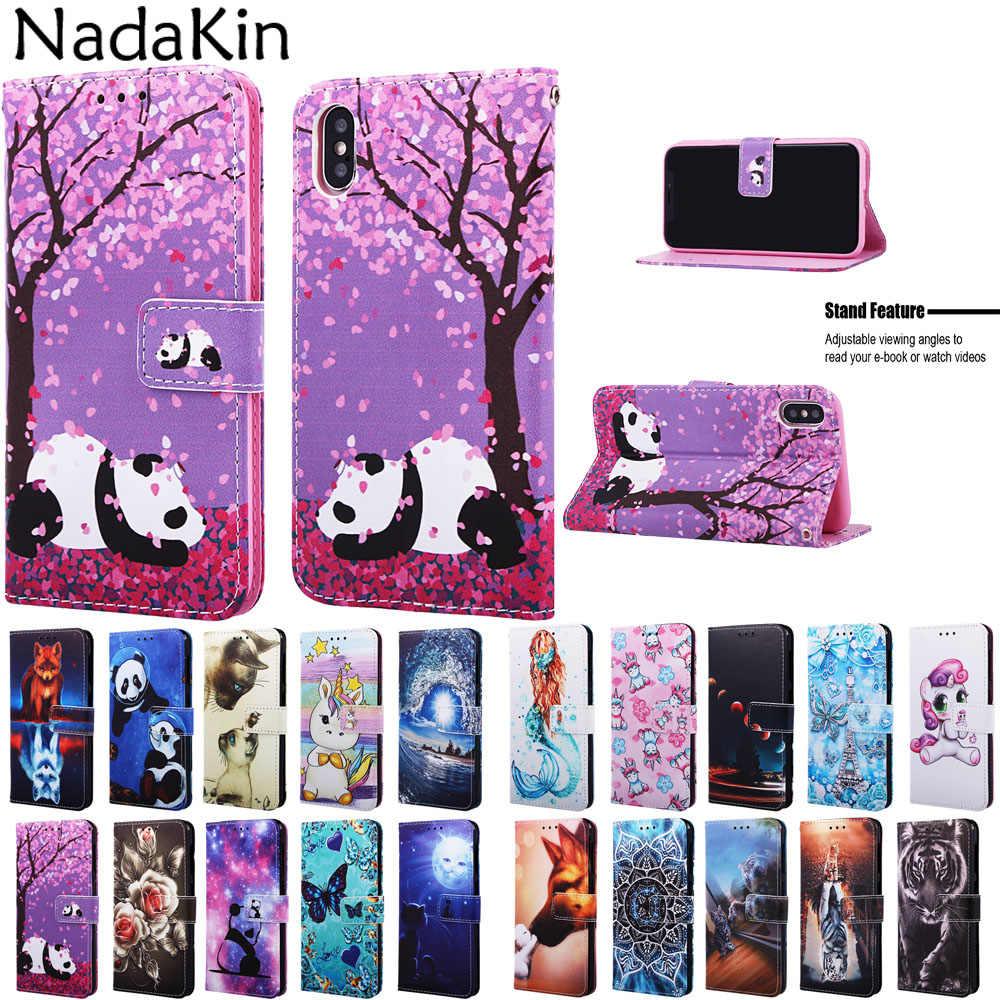 Luksusowe odwróć malowane etui na książki obudowa dla iPhone 11 Pro X XS MAX XR 6 6S 7 8 Plus skórzany portfel przy telefonie torba z gniazdami kart