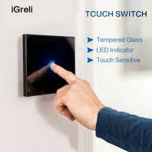 Igreli EU Standard  Smart Home LED Light Touch Switch for LED Bulb Wall Touch Switch 1 Gang 1 Way Crystal Glass