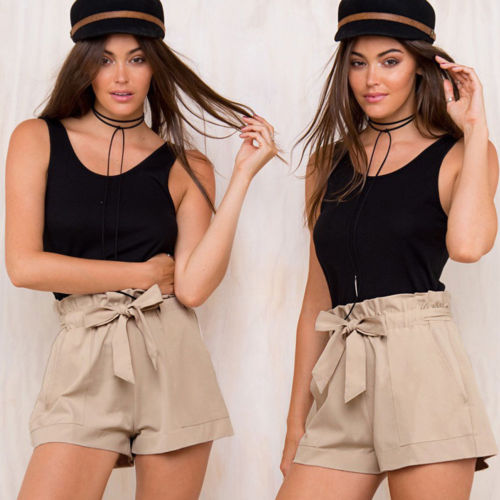 Hot Sale Elegant Ladies Girls Ruffles Bottom Sexy Women Female Fashion Casual High Waist Black White Khaki Summer Crepe Shorts