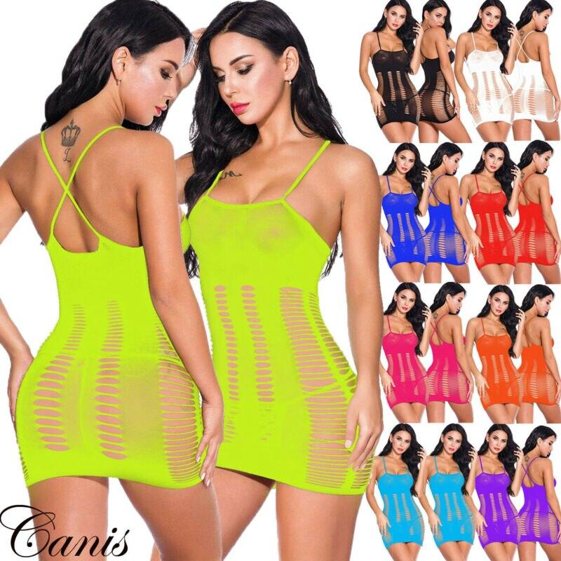 Sexy Women Lingerie Nightwear Babydoll Fishnet Bodystocking Party Dress Bodysuit Sexy Costumes Erotic Dress