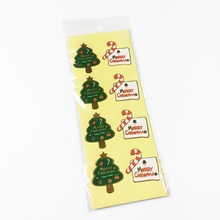 80PCS/pack Christmas Tree Cane Rim Seal Sticker Gift For Handmade Products Stationery Adhesive Stickers
