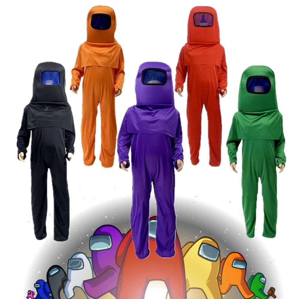 3pcs Kids Anime Game Among Us Cosplay Costumes Jumpsuit Carnival for Children Halloween Role Play Dress Up Mask Bodysuit Set