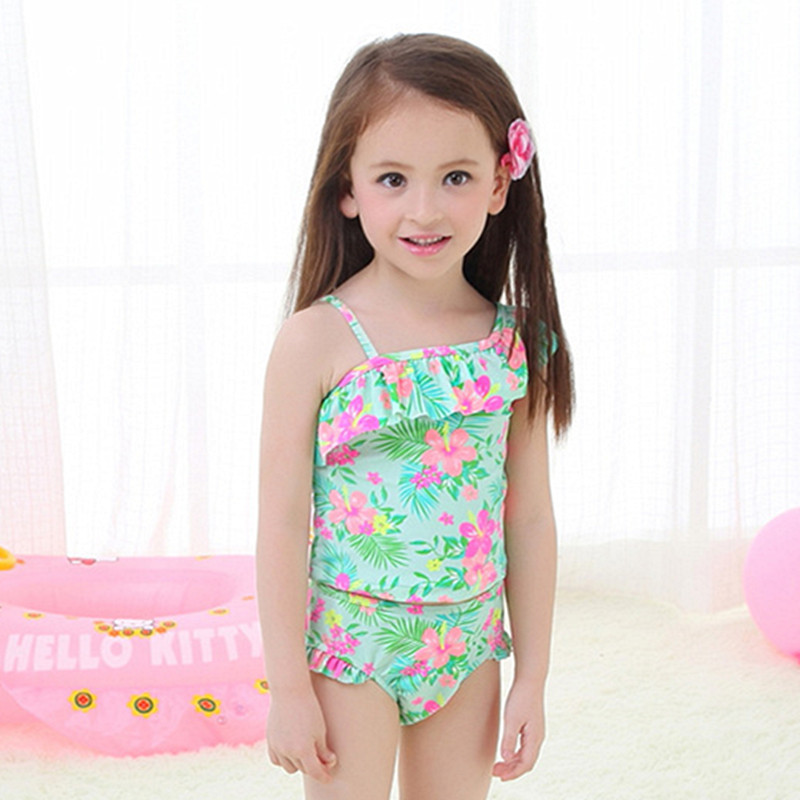 Hot Sales KID'S Swimwear Baby Infants Big Boy GIRL'S Students Light Green Sloping Shoulder Split Type Swimwear Hot Springs