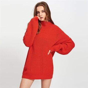 Suéter maxi casual largo tejido