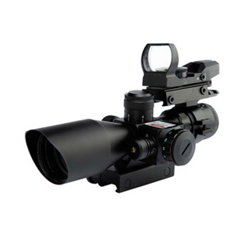 Military Hunting Riflescope 4 Reticle Holographic Sight 2.5-10x40 Red Laser Optical Cross Rifle Scopes
