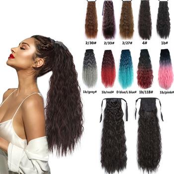 24 cal perwersyjne proste syntetyczne kucyk przedłużanie włosów Clip-on w kucyk ogon naturalne przedłużanie włosów odporne na ciepło przedłużanie włosów tanie i dobre opinie sissi s Yaki prosto Wysokiej Temperatury Włókna 100 g sztuka 1 sztuka tylko Clip-in Pure color Afro Kinky Staight Ponytail