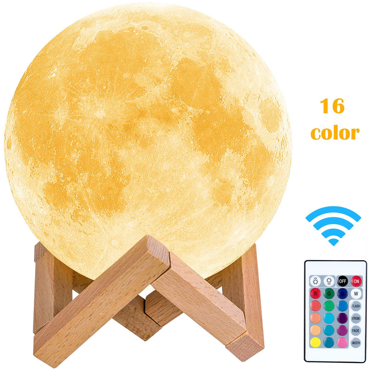 LEADLY Moon Lamp Moon Light Night Light USB Charging Touch Control Brightness 3D Printed Warm And Cool White Lunar Lamp