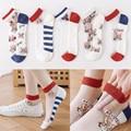 FINETOO 5 Pairs Frauen Socken Sommer Bunte Ankle Socken Splice Dünne Socken Solide Nette Tier Socken Koreanische Stil Transparente Socken