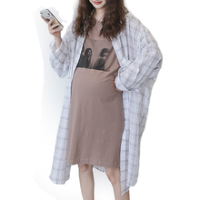New Fashion Maternity Plaid Long Shirt Dress Pregnant Clothes Leisure Sleeves Pregnancy Large Size