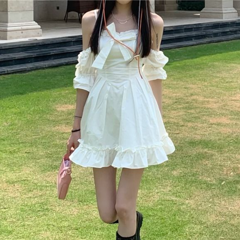 White Kawaii Fairy Strap Dress Women Patchwork Off Shoulder Sexy Party Mini Dresses Bow Ruffle Sweet Cute Princess Sundress 2021 3