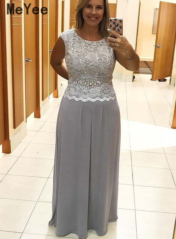 Elegant Plus size Silver Mother Of The Bride Dresses 2020 Scoop Lace Appliques Chiffon Evening Gowns Mother Dress Custom