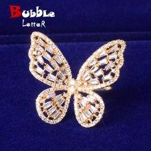 Baguette zircon feminino borboleta anel de ouro cor charme anéis moda bela jóias ajustável