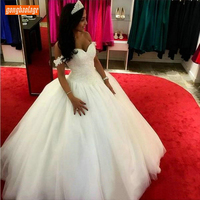 Sumptuous Princess Ball Gown Wedding Dresses Lace Applique Tulle Puffy Bridal Gowns Off Shoulder Sweetheart Long Wedding Dress