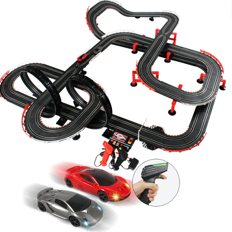 Double Electric Remote Control Track Car Train Set Toys Autorama Racing Track For Boy Circuit Voiture Rc Car Railway Kids Toys