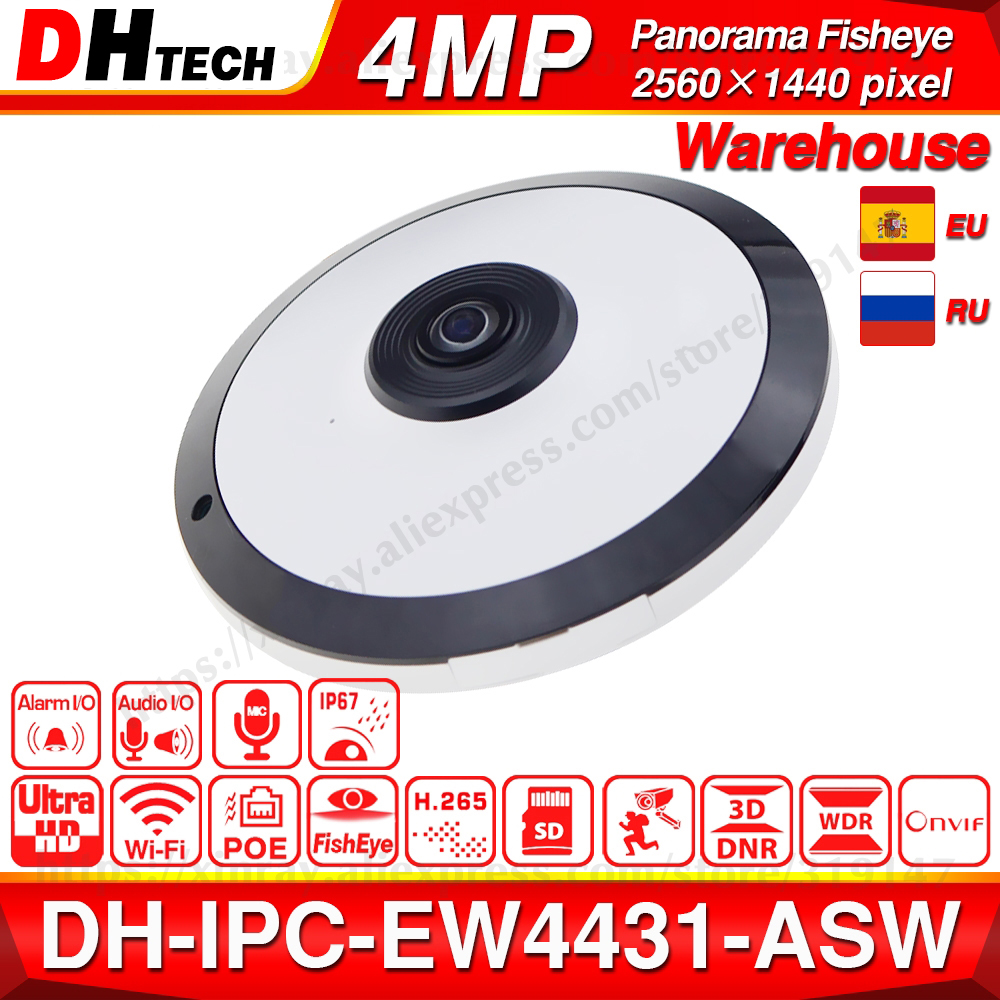 Dahua 4MP Panorama POE WIFI Fisheye IP Camera IPC-EW4431-ASW Built-in MIC SD Card Slot Audio Alarm I /O Interface IP67 H.265 WDR