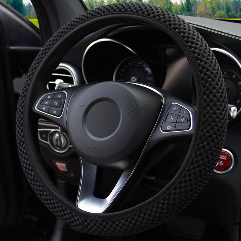 Universal 4 Colors Car Steering Wheel Cover Sandwich Fabric Handmade Winter Warm Steering Wheel Cover Car Accessories For Girls