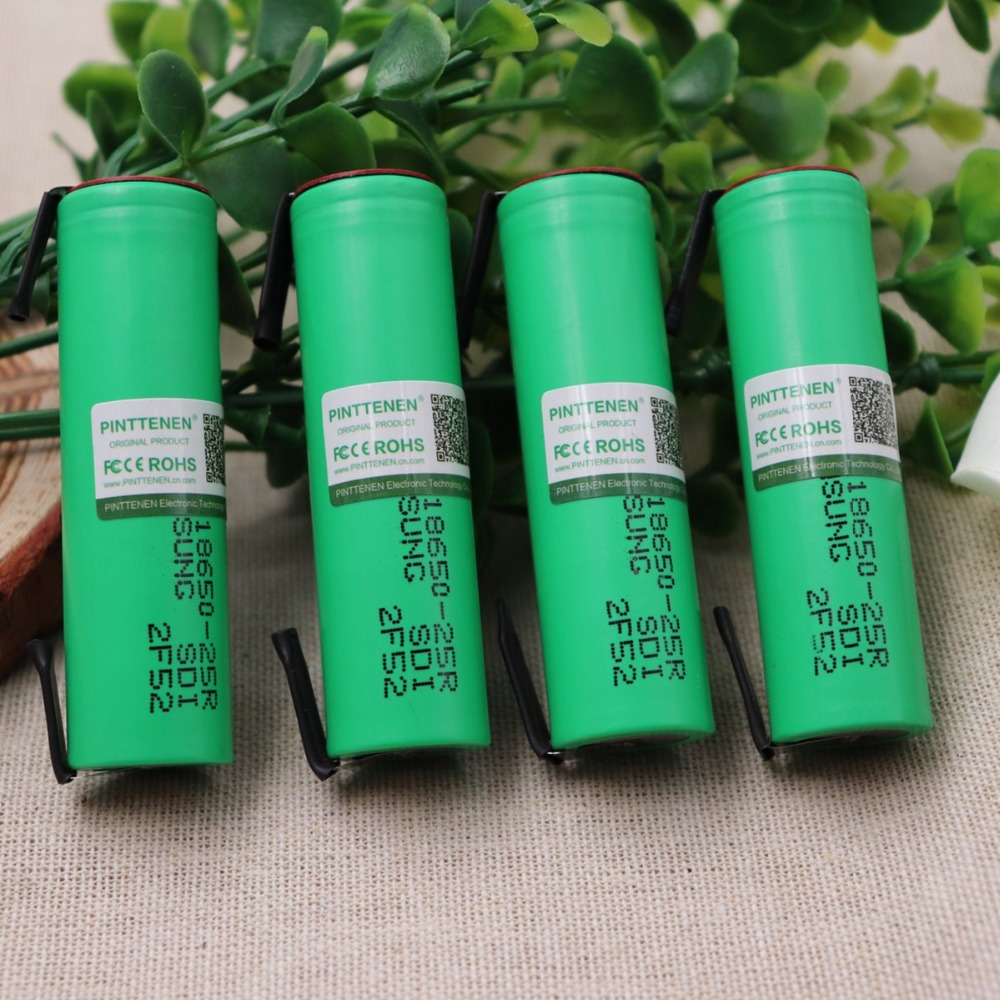 10PCS 100% Original For Samsung 18650 2500mah battery INR18650 25R 20A discharge lithium batteries+ DIY Nickel image