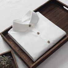 Женская рубашка белая блузка длинный рукав отложной воротник Топы женские осень весна базовая одежда удлиненного фасона короткая профессиональная одежда