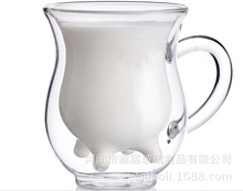 Creative Glass Double Layer Cow Cup High Temperature Resistant Breakfast Milk Juice