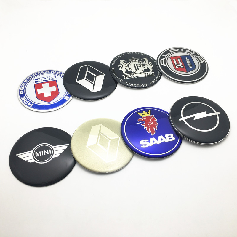 4pcs 65mm Car Wheel Center Hub Cap Logo Sticker Decal Badge Emblem For Renault Opel Saab JP HRE Mini Alpina Car Styling Stickers-in Car Stickers from Automobiles & Motorcycles