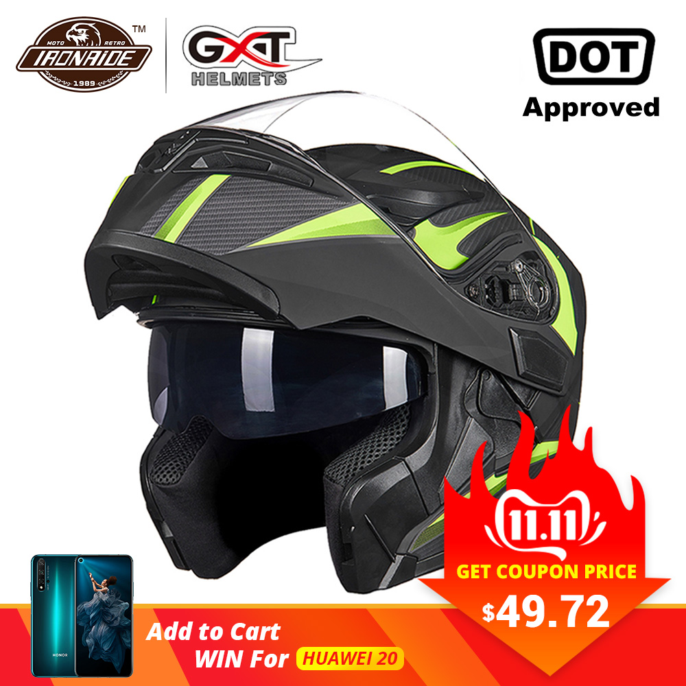 Gxt novo capacete da motocicleta flip up capacete de motocross capacete da motocicleta casque moto duplo lente corrida equitação capacete #