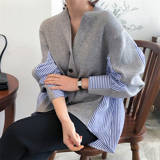 Ailegogo New 2020 Women's Autumn Sweaters Patchwork Srtiped Knitting V-Neck Cardigans Casual Single Breasted Loose Tops 1