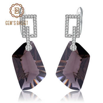 GEM'S BALLET Natural Smoky Quartz Gemstone Drop Earrings for Women Real 925 Sterling Silver Dazzling Earrings Fine Jewelry Gift - DISCOUNT ITEM  47% OFF All Category