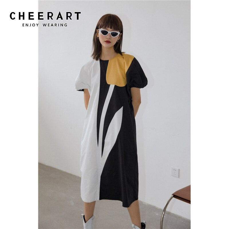 CHEERART Tulip Farbe Block Gerade Lange Kleid Frauen Kurzarm Sommer Puff Sleeve Midi Kleid Mode Designer Kleidung