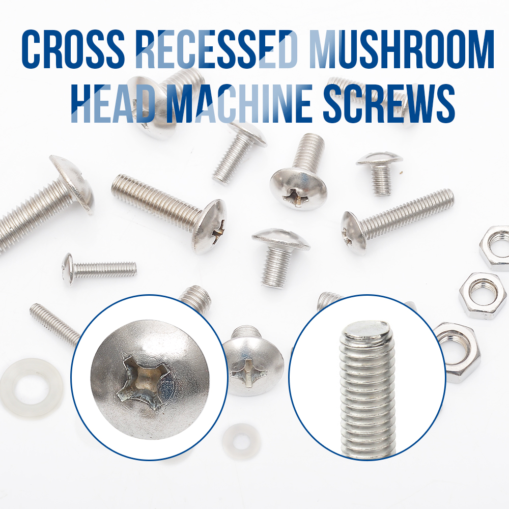 Image 4 - 654pcs Cross recessed truss mushroom head machine screw with nut and nylon washer stainless steel m3 m4 m5 m6 machine screw kitScrews   -