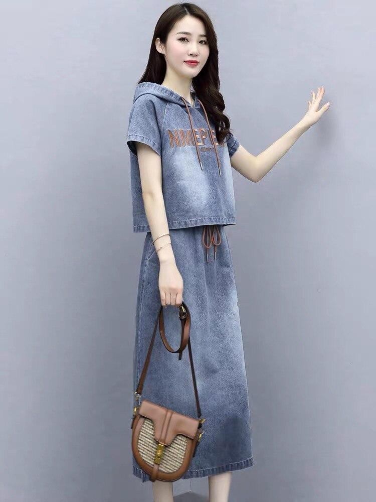 Conjunto de traje Falda larga 2020 Falda vaquera Tencel venta al por mayor ropa mujer conjuntos de dos piezas temperamento estilo extranjero seda femenina corta
