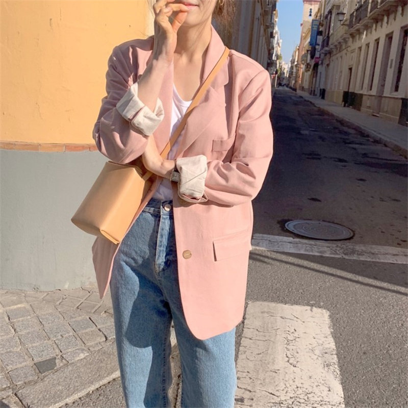 HziriP Pink Fresh All Match Plus Girls 2019 Autumn Casual Elegant Solid Fashion Office Ladies Gentle OL Women Loose Blazers