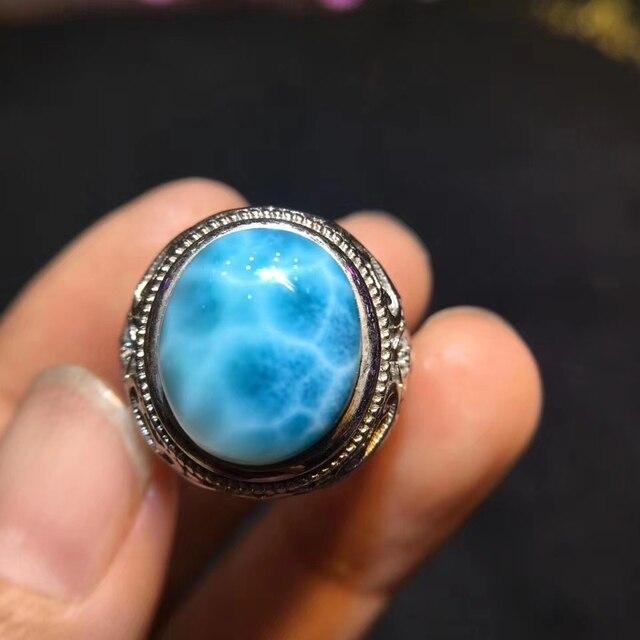 תעודת טבעי Larimar סטרלינג כסף מתכוונן גודל אישה טבעת 15x12mm מפלגת האהבה מתנה 14x11mm יוקרה קריסטל טבעת AAAAA