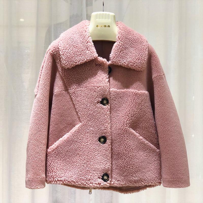 Winter Real Fur Coat Women Korean Warm Wool Jacket For Womens Clothing Abrigos Mujer Invierno 2020 005 YY1018