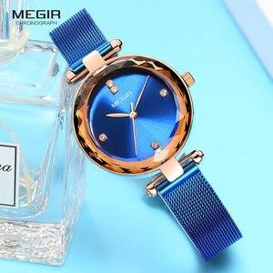 Image 1 - MEGIR Relógio de Luxo Mulheres Marca de Topo Vestido À Prova D Água Relogio feminino Malha Azul Milan Pulseira Moda Relógios de Quartzo Senhora 4211