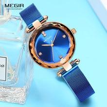 MEGIR יוקרה שעון נשים למעלה מותג עמיד למים שמלת Relogio Feminino כחול רשת מילאנו צמיד האופנה קוורץ שעונים ליידי 4211