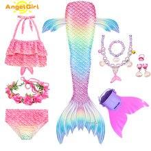 AngelGirl kız elbise denizkızı kuyruğu yüzme Mermaid kostüm Cosplay mayo parti elbise Bikini mayo Mermaid muhteşem çocuklar