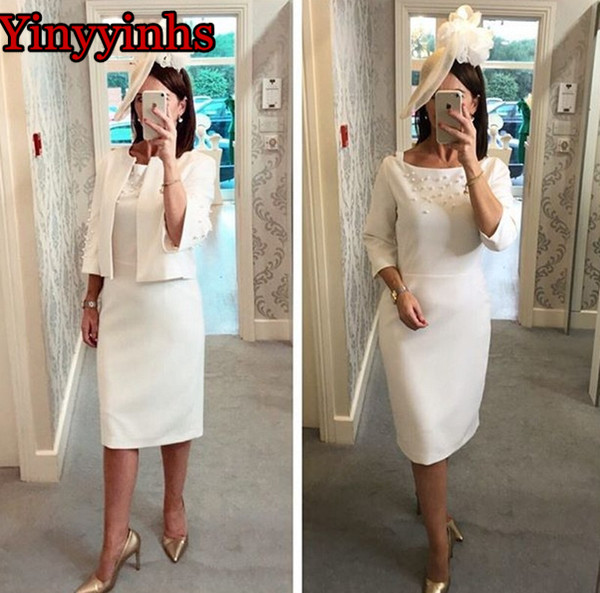 Knee Length Mother Of The Bride Dresses With Pearls 2 Piece With Jacket Mother Dress Satin Wedding Party Prom Groom Mother Gown