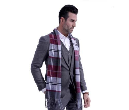 Mens Fine Soft Thermal   Scarf   Check Plaid Warm Winter Shawl Neck   Wrap   Long   Scarf   190*30 CM