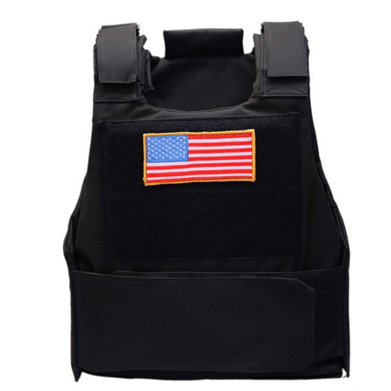 Military Airsoft Tactical Vest Combat Plate Carrier Assault Police Molle Paintball CS Hiking Hunting American Flag Vest For Men in Hunting Vests from Sports Entertainment