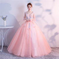 Pink Embroidery Ball Gown Quinceanera Dresses V Sweet Half Sleeves Puffy Quinceanera Prom Dresses for 15 Years Quinceanera Ruha