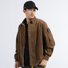 YUECHEN Autumn And Winter Mens Cotton Corduroy Pocket Long-sleeved Lapel Jacket Fashion Tide Solid Color Streetwear