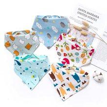 5pcs Bebê Babadores Triângulo Cotton Babadores Para Bebês Recém-nascidos da Criança Rotação Dupla de Algodão Padrão Listrado Estrela Alimentação Burp Cloths Babadores Para Bebês Meninas