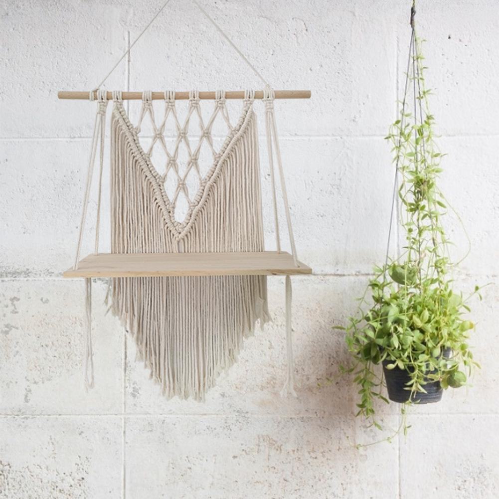 Macrame Wall Hanging Tapestry Shelf Hand-woven Nordic Bohemian Diy Wall Rack Cotton Line Tapestry Rack Woven Wall Tapestries