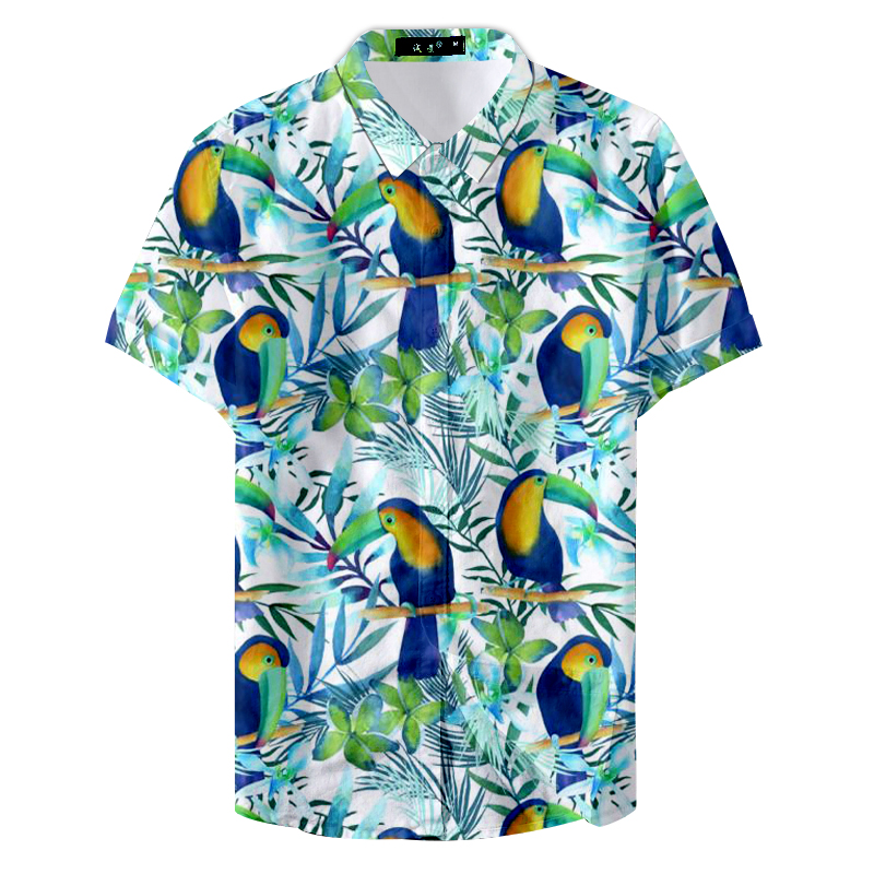 2019 Summer Fashion Print Colorful Parrot Cartoon Custom Casual Shirt