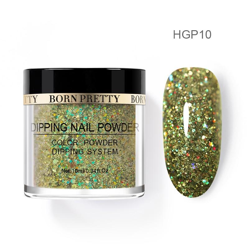 Born pretty, голографическая погружение порошки для ногтей градиент окунания блеск украшения длительным, чем УФ гель натуральный сухой без лампы лечения - Цвет: BP-HGP10