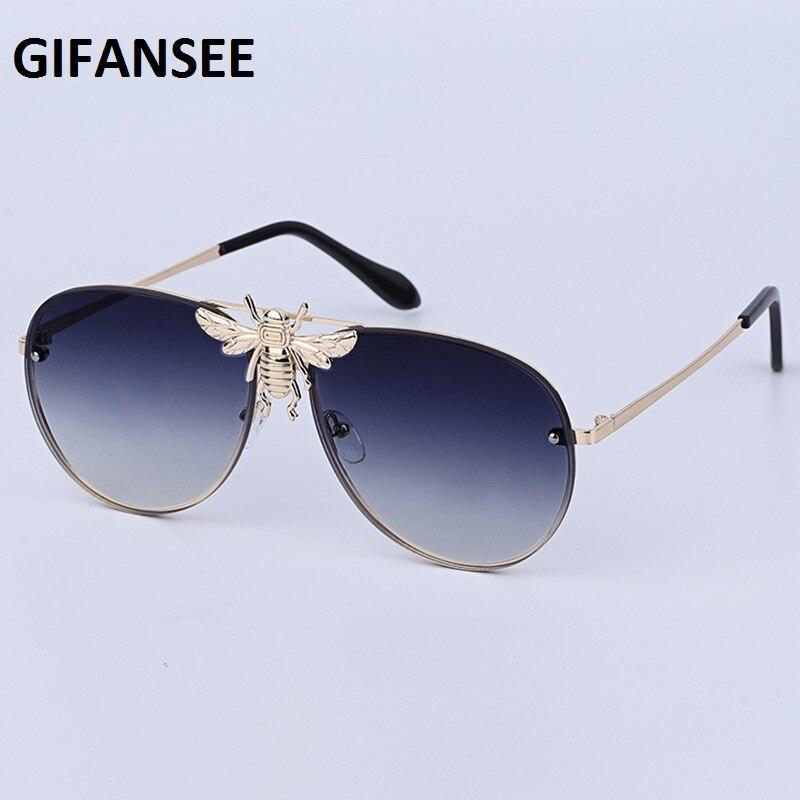 GIFANSEE Men Pilot Bee Sunglasses Oversized Women Sun Glasses Luxury Brand Vintage Design Gradient Uv400
