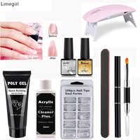 Poly Extention Gel Set Extend Fast UV LED Polygel Builder Gel Slip Solution Nail Form Nail Art Brush Nail Tools Kit For Nail Art