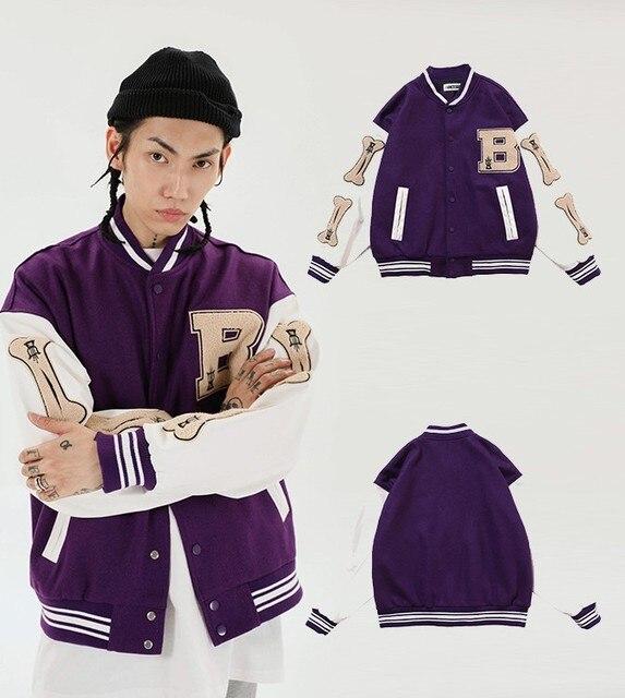 Hip Hop Furry Bone Patchwork Color Block College Jackets Mens Harajuku Casual Bomber Varsity Jacket Women Baseball Coats Unisex 5